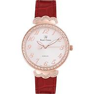 Đồng hồ nữ chính hãng Royal Crown 2609 dây da đỏ vỏ vàng hồng thumbnail