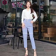 Quần baggy nữ Hiền Trần BOUTIQUE cạp cao vải Vitex cao cấp quần công sở 4 cúc bấm sang trọng thanh lịch thumbnail
