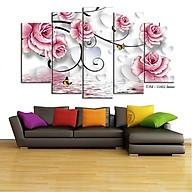 Tranh treo tường - Tranh trang trí - Hoa 3D 5 tấm - Gỗ MDF cao cấp - Chống ẩm mốc H03 thumbnail