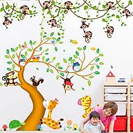 Combo 2 decal dán tường khỉ đu dây và cây động vật + Tặng stick bất kỳ thumbnail