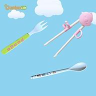 Bộ đũa tập ăn cho bé xỏ ngón, thìa muỗng nĩa ăn dặm cho bé từ bộ ngô Bamboo Life hàng chính hãng Dụng cụ tập ăn cho bé thumbnail