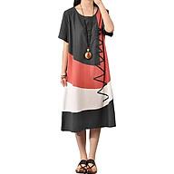 Đầm Suông Cotton Nữ Cổ Điển Cổ Tròn Tay Ngắn thumbnail