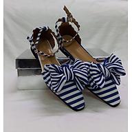 Giày Búp Bê Sọc Mũi Vuông - Xanh Dương thumbnail