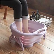 Chậu nhựa ngâm chân massage gấp gọn thông minh (Giao màu ngẫu nhiên - Tặng thuốc ngâm chân) thumbnail