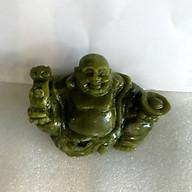 Phật để xe hơi phật di lặc ngọc Việt Nam đá tự nhiên hoàn toàn ngọc serpentine xanh lá cây đậm cho người mệnh Hỏa và Mộc nặng 0.6 kg cao 9 cm thumbnail