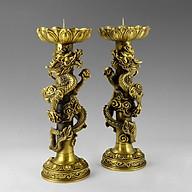 Đôi chấn nến rồng cuốn bằng đồng thau cỡ trung đồ thờ phụng cao cấp Hồng Thắng thumbnail