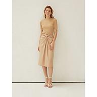COCO SIN - V012102 Váy Midi Nâu Xoắn Nơ thumbnail