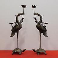 Đôi Hạc Bằng Đồng Hun giả Cổ cao 55cm thumbnail