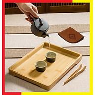 Khay trà bàn trà tre chống mối mọt cong vênh phù hợp với môi trường nóng ẩm cao tại Việt Nam,Kích thước 33 x 25 x 2,6cm,Màu Gỗ Tre nguyên bản sáng đẹp dễ dàng lau rửa (Tặng kèm 1 Dụng cụ gắp trà và khăn lau bàn trà) - Khay Tre Uống Trà bằng Gỗ Tre thumbnail