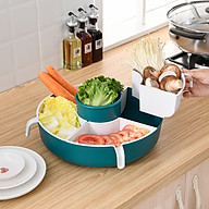 Rổ ăn lẩu 5 ngăn đựng rau củ quả,Rổ tiện lợi nhiều ngăn đựng hoa quả, rau củ ăn lẩu nhà bếp kèm chậu hứng nước (giao màu ngẫu nhiên) thumbnail