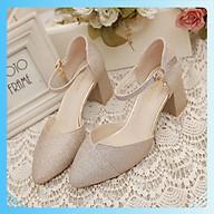 Giày gót vuông 5 phân nhũ kim tuyến siêu êm thích hợp đi tiệc BB_C24 thumbnail