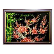 Tranh sơn mài tranh phong thủy trúc đào sum họp SM00003 60x40cm thumbnail
