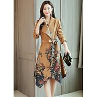 Áo khoác dáng dài da lộn in hoa đào vạt xéo GOTI1533485 thumbnail