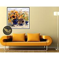 Tranh treo tường tĩnh vật, mèo bên lọ hoa sang trọng, phong cách sơn dầu,in canvas , kèm khung siêu nhẹ PVP-DC1V-05 thumbnail