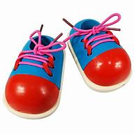 Đồ chơi giày gỗ giúp trẻ em học kỹ năng buộc dây giày thực tế thumbnail