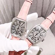 Đồng hồ thời trang nữ LC1 dây da, viền kim loại mặt bầu đính đá sang trọng. thumbnail