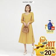 Đầm dáng xòe nữ thiết kế cổ tim kết hợp tay dài rã cúp GUMAC DB502 thumbnail