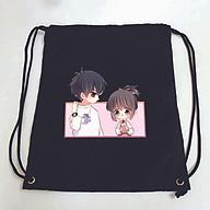 Balo dây rút đen in hình CON TIM RUNG ĐỘNG manhua anime túi rút đi học xinh xắn thời trang thumbnail