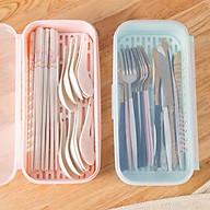 Hộp đựng muỗng đũa nhựa để bàn ăn có nắp đậy an toàn vệ sinh ( Giao màu ngẫu nhiên )- ANTH214 thumbnail