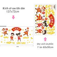 Decal dán kính trang trí Tết chào xuân Tân Sửu- Trâu vàng cùng bé lì xì- mã AMJ925 thumbnail