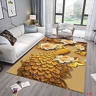 Thảm trải sàn Sofa sang trọng hiện đại trang trí phòng khách Bali in 3D Nhung nỉ lì cao cấp BL09 - Khối tròn vàng - BL28- Công Vàng - 2m x 3m thumbnail