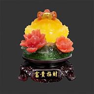 Thiềm Thừ Ngậm Tiền Chiêu Tài Hút Lộc - cóc đế hoa xanh cao 17 cm thumbnail