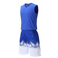 Bộ quần áo bóng rổ trơn Xanh Dương - Bộ quần áo bóng rổ để in áo đội- Quần áo bóng rổ không logo - Mẫu 2-2021 thumbnail