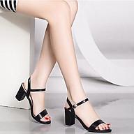Giày Sandal Nữ Đẹp Da Lì Hở Mũi Quai Hậu Đế Vuông 7P Bản Ngang Công Sở CTS-PN852 thumbnail