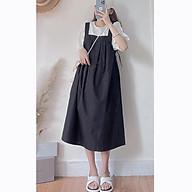 Set bộ nữ S.062, Áo sơ tay lỡ cổ tròn và yếm dài cách điệu thắt nơ hông style Hàn Quốc thumbnail
