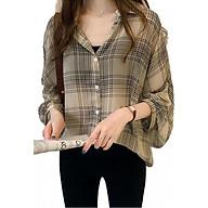 Áo sơ mi nữ shirt jacket kẻ retro Ohazo AG35 thumbnail