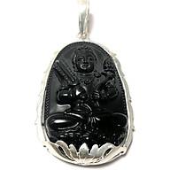 Mặt dây chuyền nam bản mệnh ngài Hư Không Tạng màu đen bọc đài sen bạc cho người tuổi Sửu - Tuổi Dần Bạc QTJ - MBM44(Maù đe) thumbnail