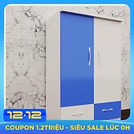Tủ nhựa đài loan 2 cánh 2 ngăn xanh trắng (cao 1m15 x rộng 85cm x sâu 45cm) thumbnail