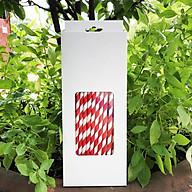 Hộp 100 ống hút giấy kích thước 197x6mm màu trắng đỏ thân thiện môi trường dùng cho mọi loại nước thumbnail