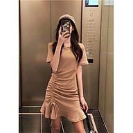 Váy nữ cotton đẹp, cổ tròn, ngắn tay, Váy thun dây rút eo đuôi cá chất đẹp nhiều màu freesize 54kg thumbnail