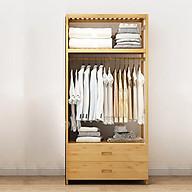 Tủ treo quần áo gỗ tre có ngăn kéo để đồ tiện lợi, giá treo quần áo 70cm TUR068 thumbnail
