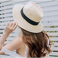 Nón phớt cói nữ phong cách Hàn, mũ phớt panama rộng vành thời trang màu kem thumbnail