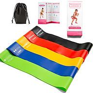 Bộ 5 dây kháng lực tập Gym, dây đàn hồi Miniband đa năng tập Mông Đùi Chân, độ kháng lực cao, phiên bản nâng cấp chống trơn trượt + Tặng túi vải đựng + Sách hướng dẫn thumbnail