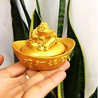Thỏi vàng phong thủy trang trí chiêu tài lộc may mắn, Tượng Phật Di Lặc ngồi trên thỏi vàng để bàn làm việc dài 8 cm siêu bền TPTPT060 thumbnail