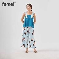 FEMEI - Đồ mặc nhà Áo dây 5cm quần dài Xanh Dương BDP016 thumbnail