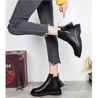 Giày bốt nữ dáng Dr đế vuông 3cm gắn tua rua kéo khóa da lì màu đen 05 cổ cao qua mắt cá chân thumbnail