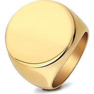 Nhẫn nam mạ vàng 24k mặt tròn trơn thumbnail