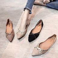 Giày Búp Bê Nữ Da Lộn Mũi Nhọn Đính Đá Cá Tính Hot ST37 - Mery Shoes thumbnail
