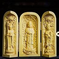 Tượng Tam Thế Phật Bằng Gỗ Me ( Cao 10,5 cm x Ngang 11 cmm ) - Phù Hộ Độ Trì thumbnail