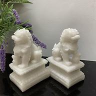 Cặp tượng đá kỳ lân trang trí phong thủy - Kỳ lân cao 12cm - Đá trắng đá non nước thumbnail