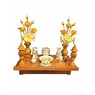 Combo bộ bàn thờ treo tường gỗ PM và bộ bát nhang thờ Thổ Công bằng sứ bao gồm đèn thờ và bộ đồ thờ bằng gốm sứ rồng vàng (tặng kèm 2 lọ hoa sen gỗ mít và 1 tấm chống ám khói nhang) thumbnail