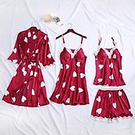 Set ngủ lụa dâu tây dễ thương với váy hai dây áo choàng và bộ đồ ngủ nữ thumbnail
