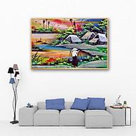Tranh treo tường làng quê Việt Nam phong cách sơn dầu CA121- Vải canvas kim tuyến cán PiMa - công nghệ in UV - Khung viền composite - bền màu 10 năm. thumbnail