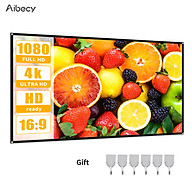 Aibecy Projection Screen 16 9 HD 4K Movie Screen Curtain Foldable Portable Anti-Crease Projector Screen with Stick Hooks thumbnail