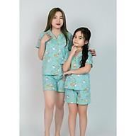 Pijama Mẹ và bé màu xanh ngọc hình công chúa thumbnail