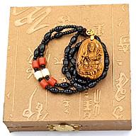 Vòng cổ Bồ tát Phổ hiền đá mắt hổ 3.8cm VHMH2 kèm hộp gỗ thumbnail